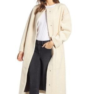 Something Navy Long Faux Shearling Coat size L NWT